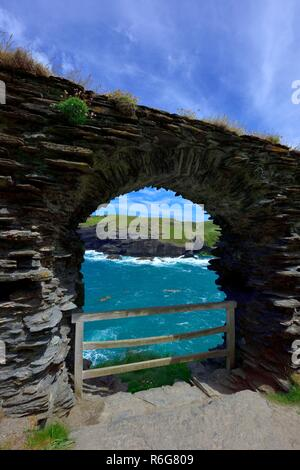 Tintagel castle landing gate, Island Peninsula,Cornwall,England,UK - Stock Image
