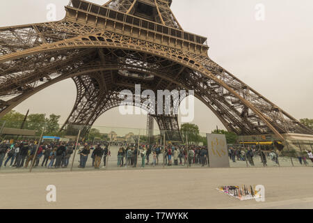 2019-04 : FRANCE : PARIS,  Constructed from 1887 to 1889, The Eiffel Tower is a wrought-iron lattice tower on the Champ de Mars. - Stock Image