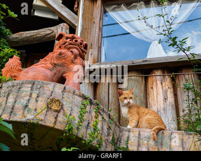 Low Angle View Of Cat Sitting By Monster Sculpture - Stock Image