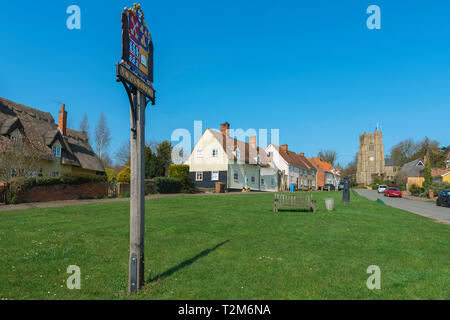Monks Eleigh Suffolk, view across the village green towards Church Hill in Monks Eleigh, Babergh district, Suffolk, England, UK. - Stock Image