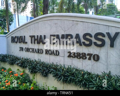 Entrance to the Royal Thai Embassy, Orchard Road, Singapore - Stock Image