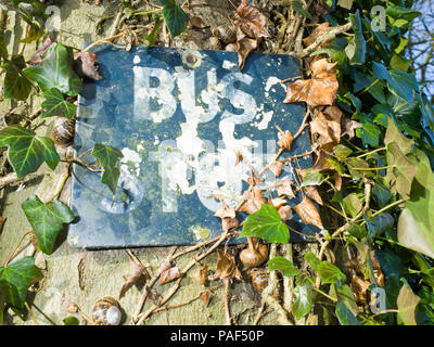 Old Metal Bus Stop Sign UK - Stock Image