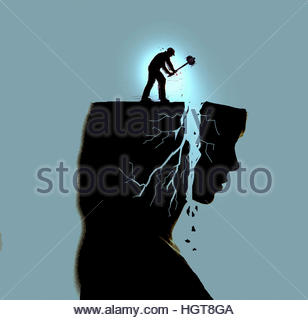 Worker pounding woman's head and breaking profile with sledgehammer - Stock Image
