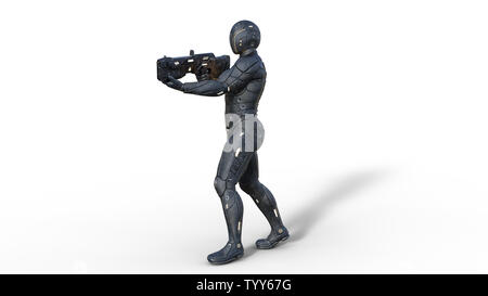 Futuristic android soldier in bulletproof armor, military cyborg armed with sci-fi rifle gun walking and shooting on white background, 3D rendering - Stock Image