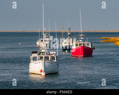 Colorful boats Chatham Harbor Harbour Chatham Massachusetts Cape Cod in the fall. Colourful autumn travel tourism - Stock Image