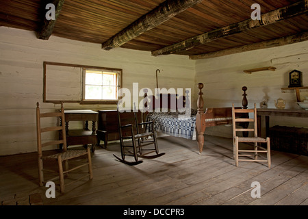 Interior of a Slave shack at the Hermitage owned by President Andrew Jackson in Nashville Tennessee USA - Stock Image