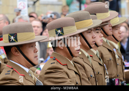 Gurkha soldiers of the British Army marching during ceremony celebrating Queen Elizabeth's Diamond Jubilee at - Stock Image