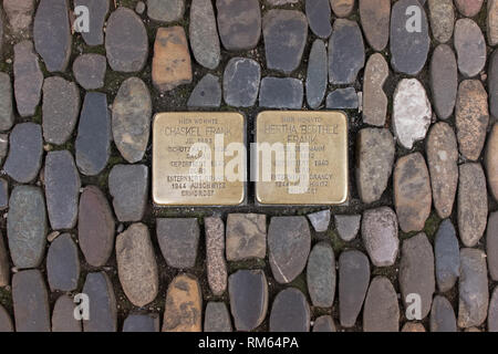 Stolperstein or stumbling stones, brass plaques on a street in Freiburg, Germany, Europe - Stock Image