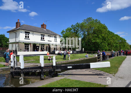Stenson Lock and cafe on the Trent & Mersey Canal in Derbyshire - Stock Image