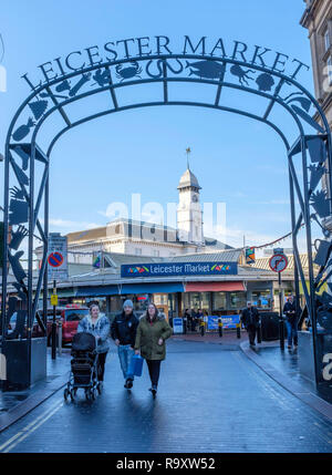 The entrance to Leicester Market. - Stock Image