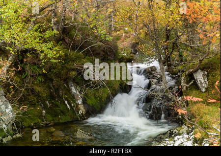 Waterfall on the north side footpath beside  Loch Affric Glen Affric, Highlands, Scotland. - Stock Image