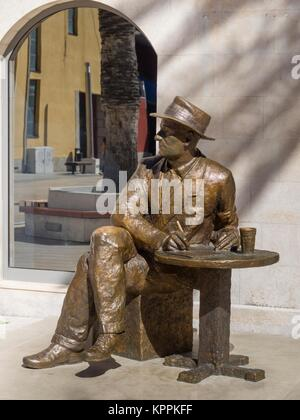 Tin Ujevic statue of Croatian writter in Makarska Croatia - Stock Image