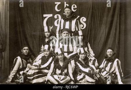 UK Entertainment Vaudeville Troupe, The Tanks, Striped Pierrot Costumes. - Stock Image