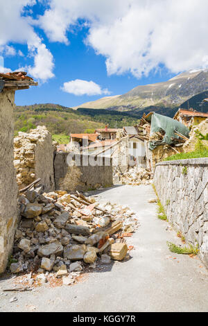 Pretare of Arquata del Tronto,Italy. 29 April 2017. The damage caused by the earthquake that hit central Italy in - Stock Image
