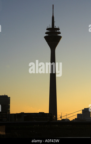 Media Port Rhine Tower River Rhine Dusseldorf Germany - Stock Image