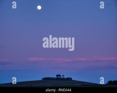 Derbyshire, UK. 18th Feb, 2019. Super Snow Full Moon rising over Minninglow in the Peak District National Park, Derbyshire. The full moon will reach its closest point to Earth at 9.06 am on Tuesday 19th February 2019. It will be the biggest and brightest of the entire year appearing 14% bigger than usual and 30% brighter. Credit: Doug Blane/Alamy Live News - Stock Image