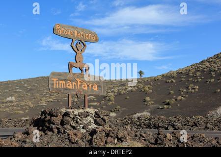 Timanfaya National Park sign for Fire Mountains of Parque Nacional de Timanfaya, Lanzarote, Canary Islands, Spain - Stock Image