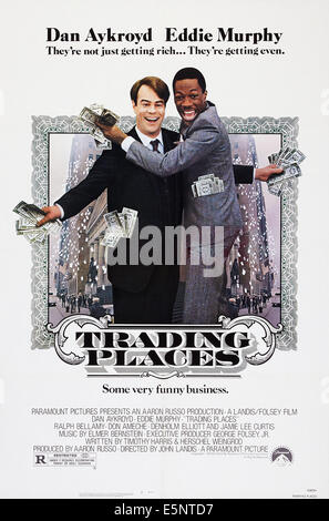 TRADING PLACES, US poster art, from left: Dan Aykroyd, Eddie Murphy, 1983, © Paramount/courtesy Everett Collection - Stock Image
