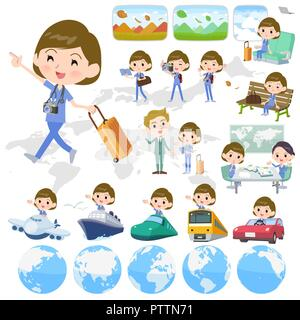 A set of Surgical Doctor women on travel.There are also vehicles such as boats and airplanes.It's vector art so it's easy to edit. - Stock Image