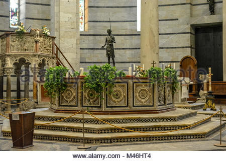 The Romanesque interior pulpit of the Pisa Baptisterty of St John on the square of miracles in Pisa Italy - Stock Image