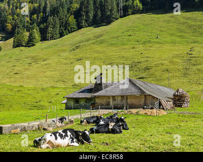 A Swiss dairy building, called 'La Vonderweire' in the canton of Fribourg - Stock Image