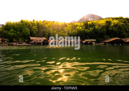 Koenigssee lake in germany view from the boat in summer - Stock Image