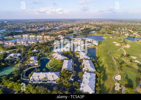 Naples Florida Lely Resort GreenLinks Golf Villas Flamingo Island Club golf course homes aerial overhead bird's eye view above - Stock Image