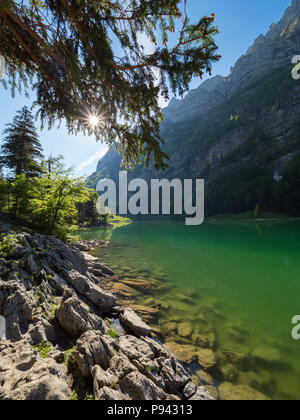 Sunny day at Seealpsee - Stock Image