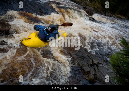 whitewater kayaker - Stock Image