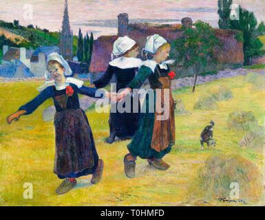 Paul Gauguin, Breton Girls Dancing, Pont-Aven, painting, 1888 - Stock Image