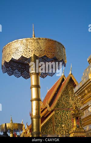 Thailand, Chiang Mai, Doi Suthep. Temple architecture at Wat Phra That Doi Suthep. - Stock Image