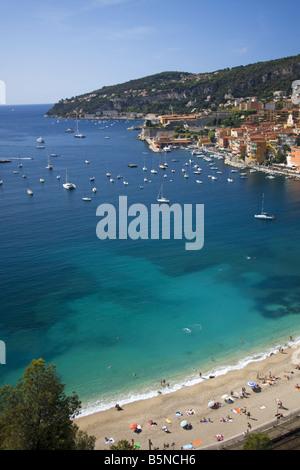 South France Cote d Azur Villefranche sur mer beach - Stock Image