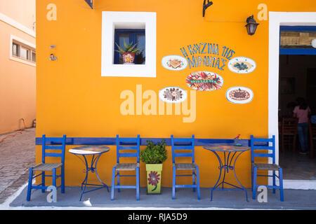 Straßenlokal in Koroni in Griechenland - Stock Image