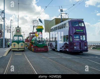 Blackpool Tramway Anniversary Spectacular Lineup -1 - Stock Image