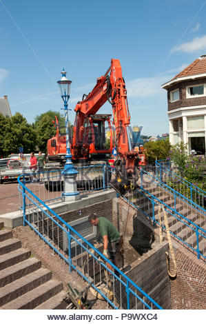 Maassluis The Netherlands Replacement and work on the lock gates in the city. - Stock Image