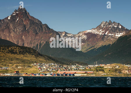 Mount Olivia and Ushuaia, Argentina - Stock Image
