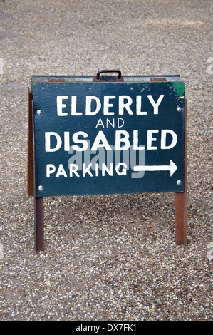 Elderly and disabled parking sign, England, UK - Stock Image