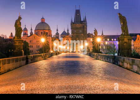 The famous Charles Bridge at sunrise in Prague in the Czech Republic - Stock Image