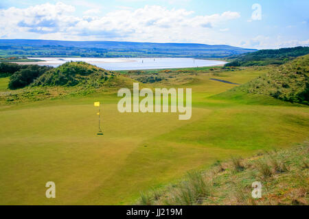 Portstewart golf course Northern Ireland - links golf course between the estuary and the sea close to Portrush. - Stock Image