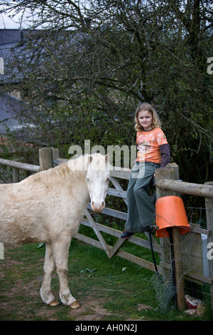 Young caucasian girl sitting on fence with white Welsh Mountain Pony - Stock Image