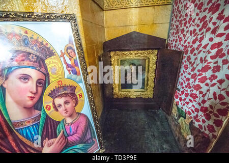 Religious artwork on display within the Beata Maryam Church,  resting place of Menelik II and his wife and daughter. Addis ababa, Ethiopia. - Stock Image