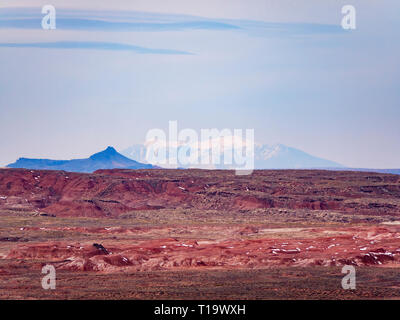 View of the Painted Desert from Pintado Point, Petrified Forest National Park. San Francisco Peaks on horizon over 100 miles away, base below horizon. - Stock Image