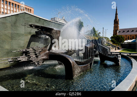Captain Cook Memorial Fountain in Newcastle, New South Wales, Australia. - Stock Image