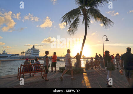 Sunset at Mallory Square, Key West, FL, USA - Stock Image