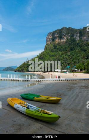Two kayaks on Centara Grand beach near Ao Nang, Krabi province, Thailand - Stock Image