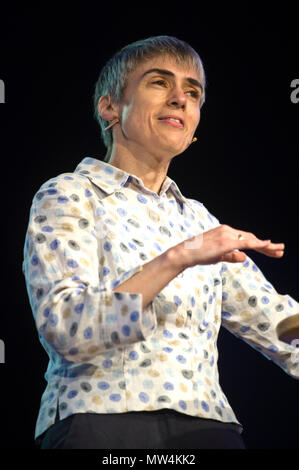 Dame Ottoline Leyser DBE FRS British plant biologist & Professor of Plant Development at University of Cambridge also director of the Sainsbury Laboratory, Cambridge speaking on stage at Hay Festival 2018 Hay-on-Wye Powys Wales UK - Stock Image