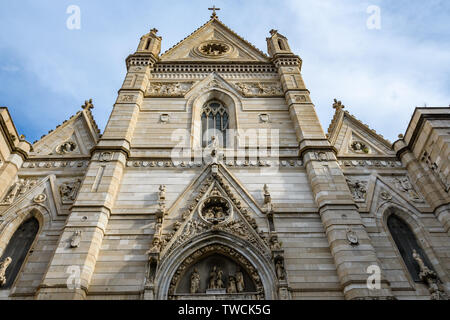 Facade of San Gennaro Cathedral in the Old Town of Naples, Italy - Stock Image