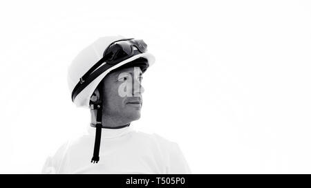 Frankie Dettori, jockey during All Weather Championships Finals Day at Lingfield Park Racecourse. - Stock Image