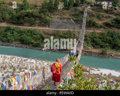 Suspension Bridge at Punakha, Bhutan - Stock Image
