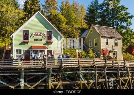 Sept. 17, 2018 - Ketchikan, AK: 'Dolly's House' a former brothel turned museum and popular tourist attraction on Creek Street. - Stock Image